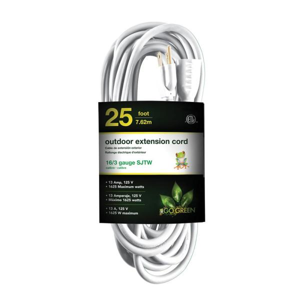 25ft White HouseHold Extension Cord Power Cord w// 3 Outlets