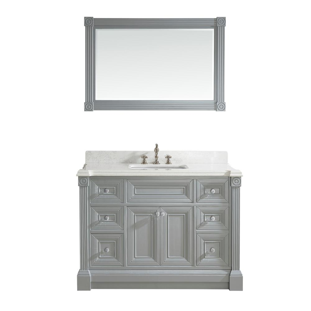 Studio Bathe Avenue 48 in. W x 23 in. D Vanity in Oxford Gray with Engineered Solid Vanity Top in White with White Basin and Mirror