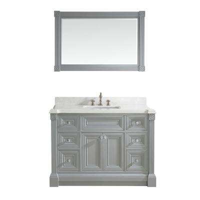 Avenue 48 in. W x 23 in. D Vanity in Oxford Gray with Engineered Solid Vanity Top in White with White Basin and Mirror