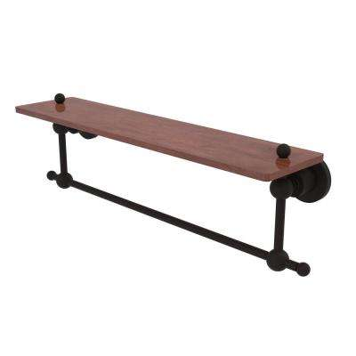 Astor Place Collection 22 in. Solid IPE Ironwood Shelf with Integrated Towel Bar in Oil Rubbed Bronze