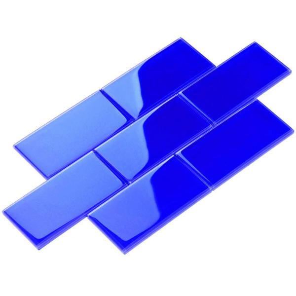 Cobalt Blue 4 in. x 12 in. x 8mm Glass Subway Tile (5 sq. ft./Case)