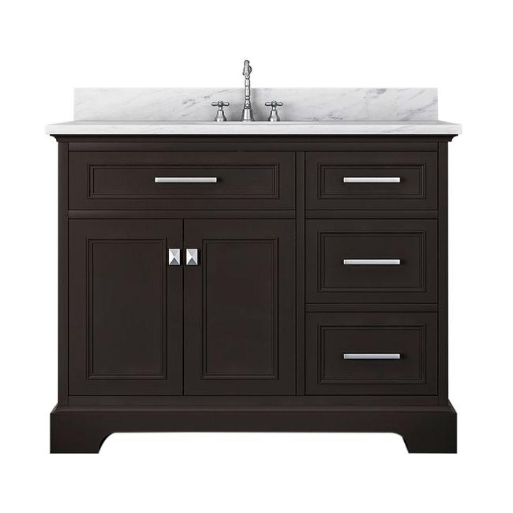 Alya Bath Yorkshire 43 in. W x 22 in. D Bath Vanity in Espresso with Marble Vanity Top in White with White Basin