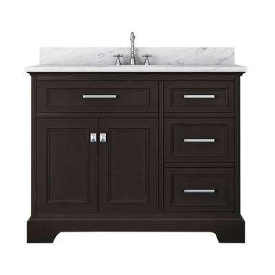 Yorkshire 43 in. W x 22 in. D Bath Vanity in Espresso with Marble Vanity Top in White with White Basin