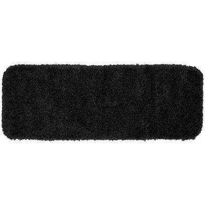 Serendipity Black 22 in. x 60 in. Washable Bathroom Accent Rug