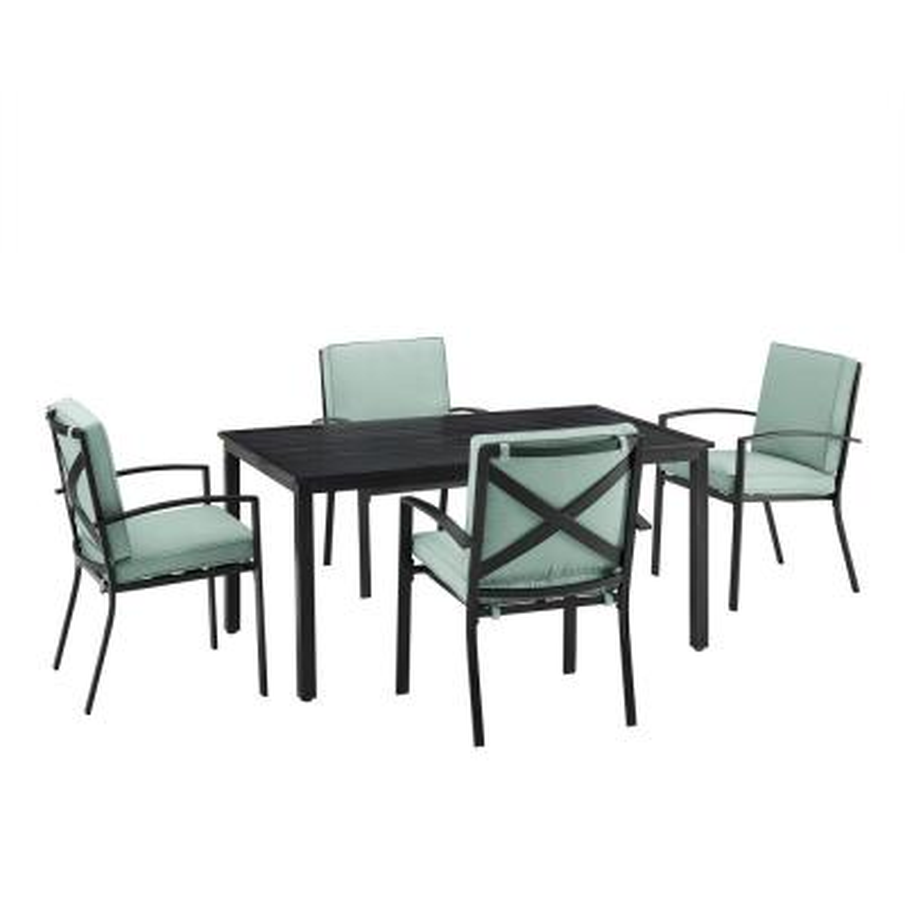 Kaplan 5-Piece Metal Outdoor Dining Set with Mist Cushions