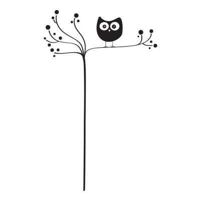 39.4 in. x 27.6 in. Owl on Tree Wall Decal