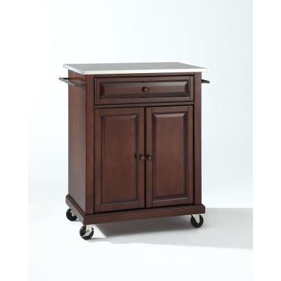 Rolling Mahogany Kitchen Cart with Stainless Top