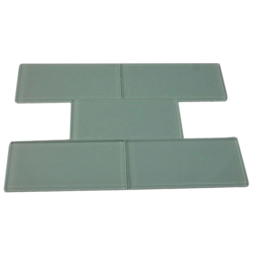 Splashback Tile Contempo Seafoam Polished 3 In X 6 In X 8 Mm Glass