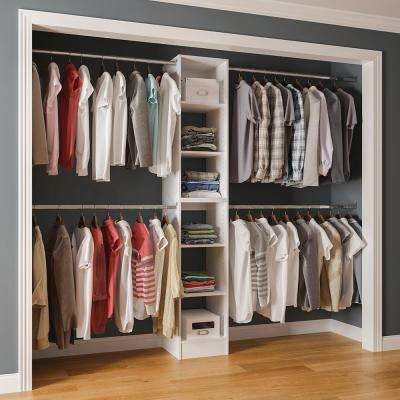 15 in. D x 105 in. W x 84 in. H Melamine Reach-In Closet System Kit with Hanging Rods in White