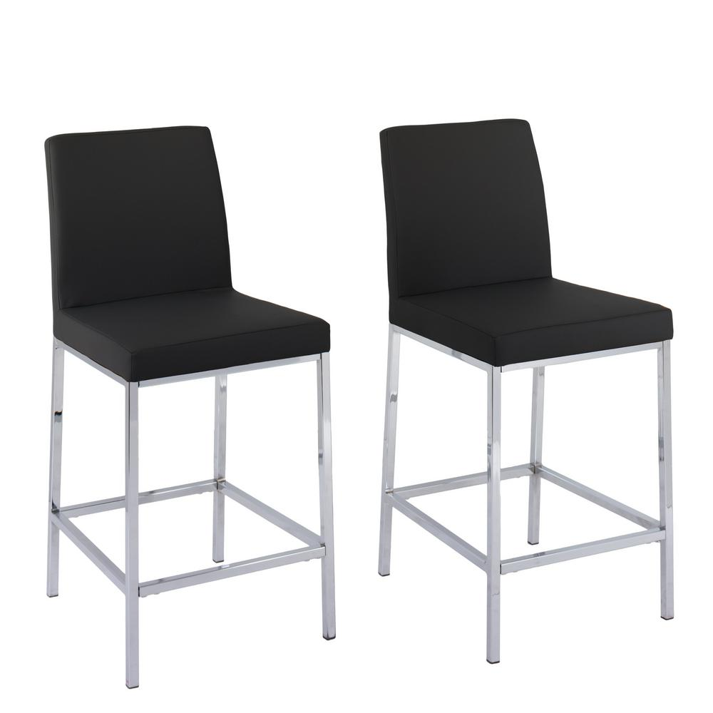 Huntington 25 in. Black Leatherette Cushioned Bar Stool (Set of 2)
