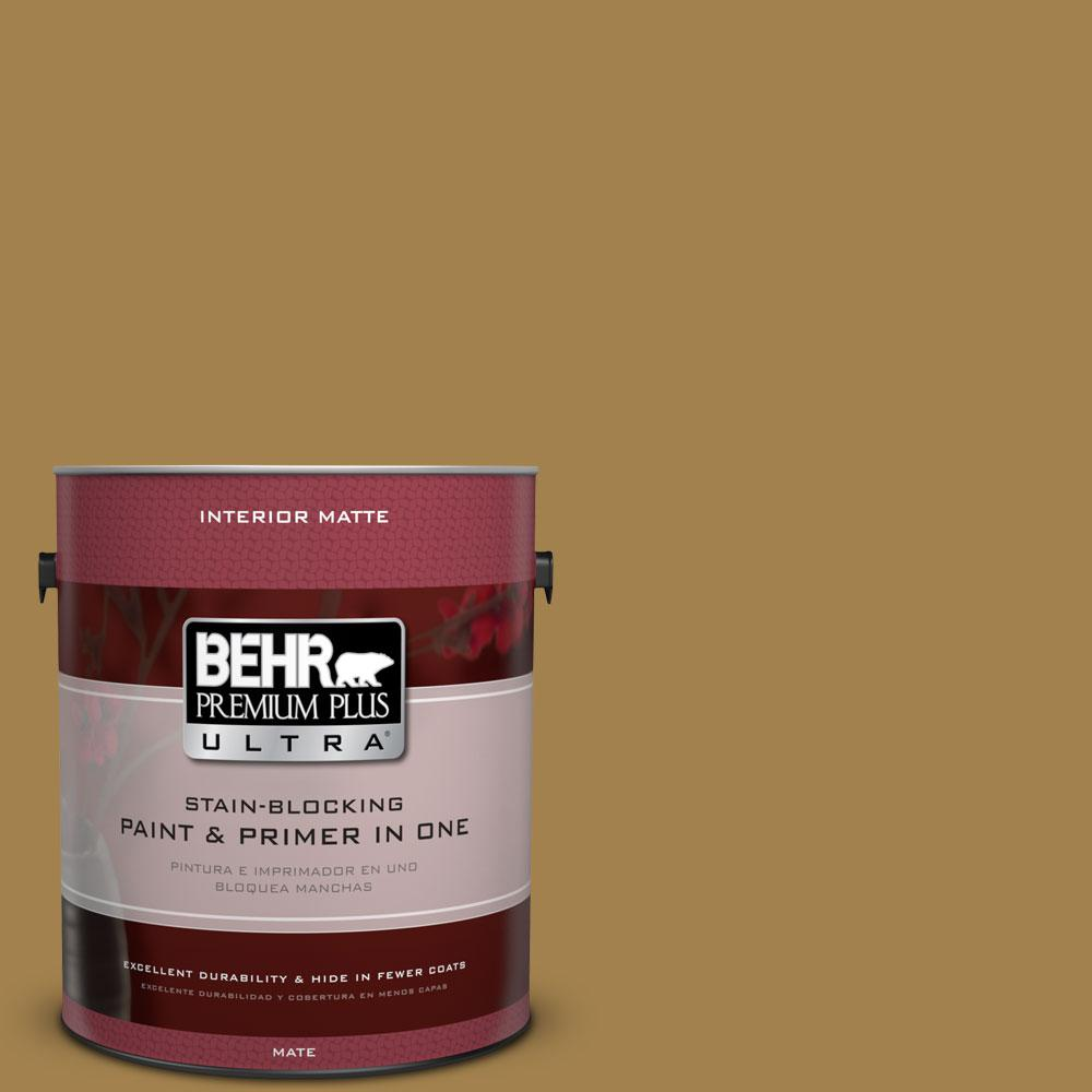 BEHR Premium Plus Ultra 1 gal. #340F-7 Woven Basket Flat/Matte Interior Paint