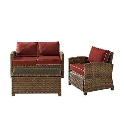 Bradenton 3-Piece Outdoor Wicker Seating Set with Sangria Cushions Loveseat, Arm Chair and Glass Top Table
