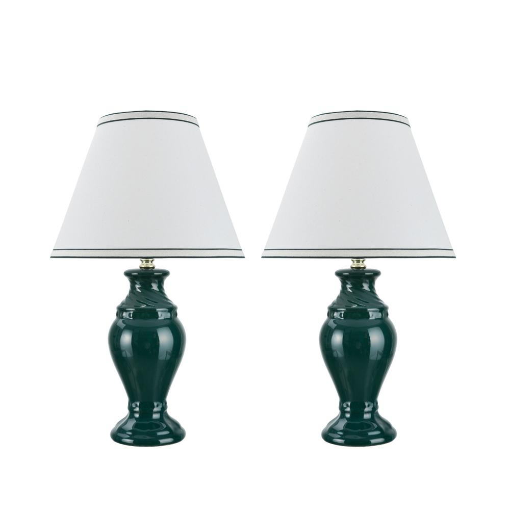 Aspen Creative Corporation 19-1/2 in. Green Ceramic Table Lamp with Hardback Empire Shaped Lamp Shade in Off-White (2-Pack)