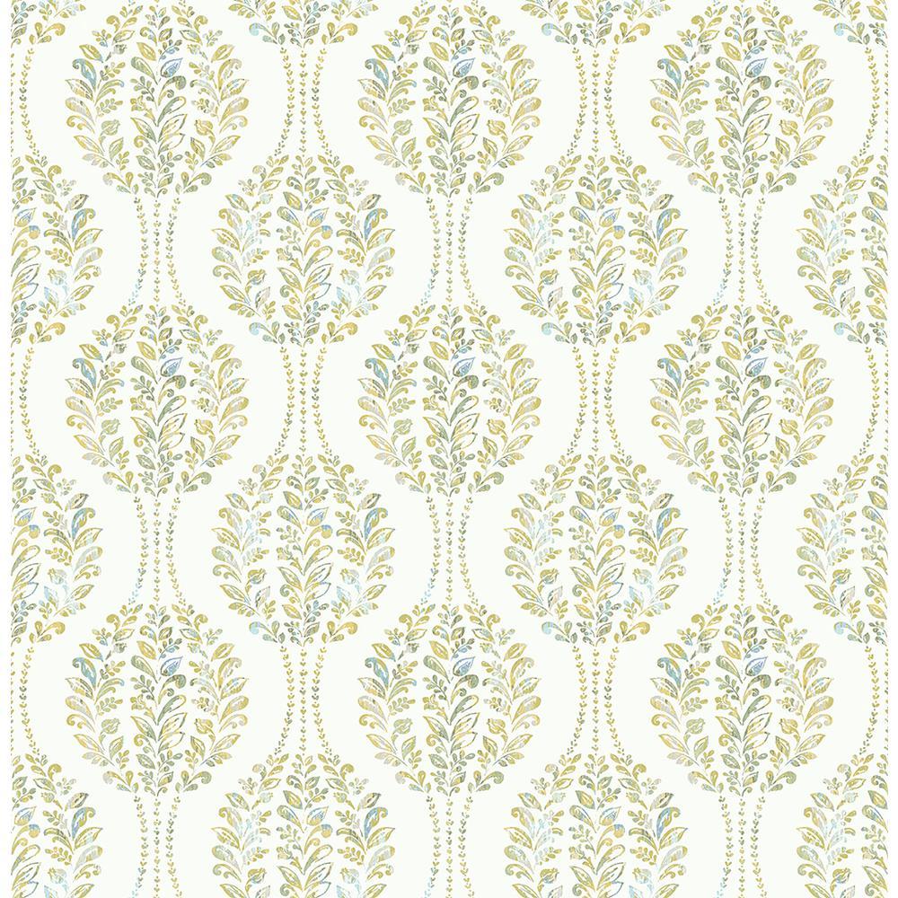 A-Street Versailles Green Botanical Geometric Wallpaper Sample 2702-22739SAM