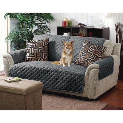 Reversible Grey/Charcoal Quilted Furniture Chair/Recliner Seat Protector