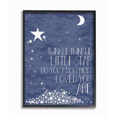 "16 in. x 20 in. ""Navy Textural Twinkle Little Star Typography"" by Karen Zukowski Printed Framed Wall Art"