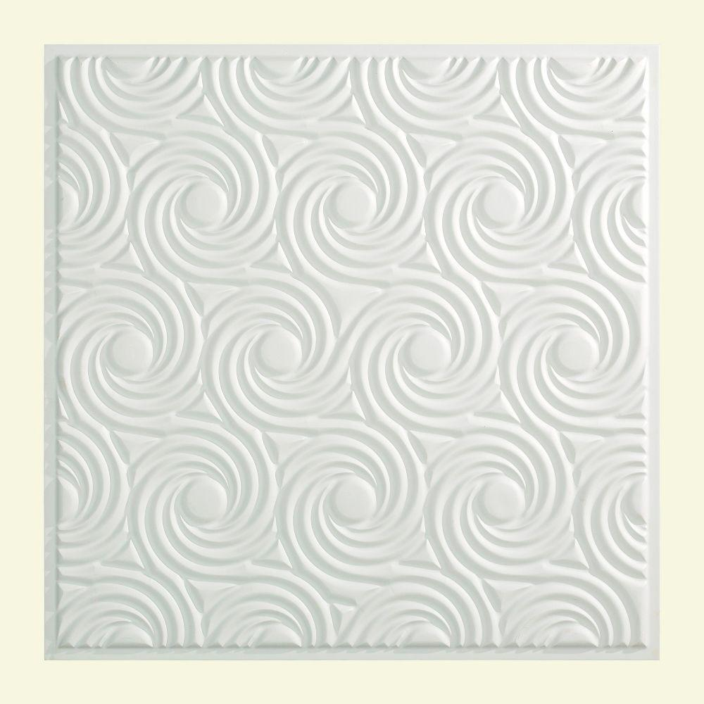 Fasade Cyclone - 2 ft. x 2 ft. Lay-in Ceiling Tile in Gloss White