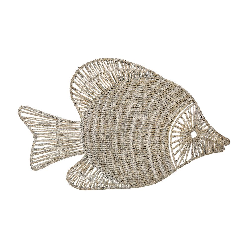 Titan Lighting White Washed Wicker Fish Wall Decor Tn 894146 The
