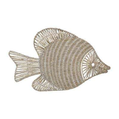 White Washed Wicker Fish Wall Decor