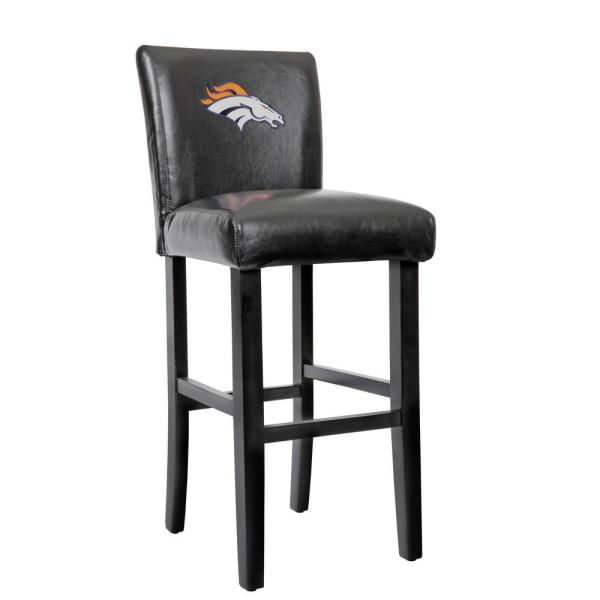 American Furniture Clics Denver Broncos 30 In Black Bar Stool With Faux Leather Cover