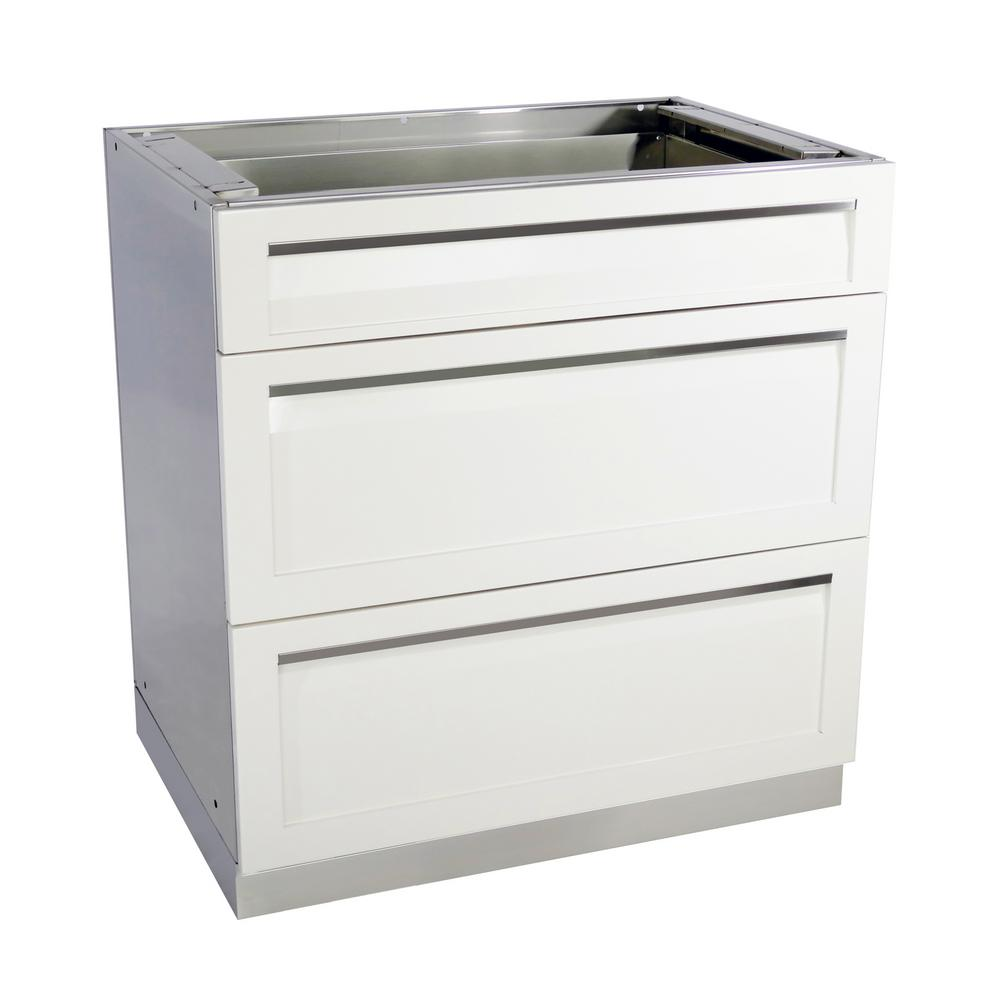 Stainless Steel 3 Drawer 32x35x22.5 in. Outdoor Kitchen Cabinet Base with