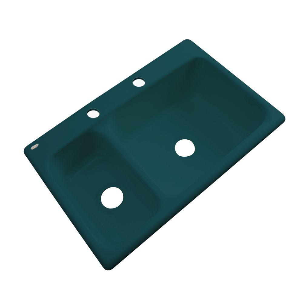 Thermocast Wyndham Drop-In Acrylic 33 in. 2-Hole Double Basin Kitchen Sink in Teal