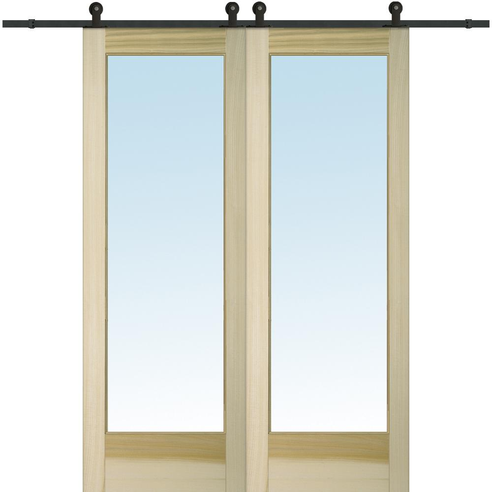 60 In. X 96 In. Clear 1 Lite Unfinished Poplar Double Barn Door With