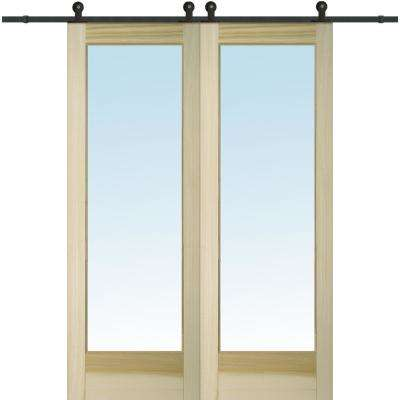 60 in. x 96 in. Clear 1 Lite Unfinished Poplar Double Sliding Barn Door with Hardware Kit