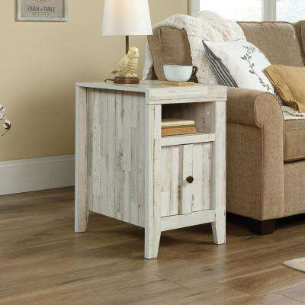 Dakota Pass White Plank Slide-Out Shelf End/Side Table