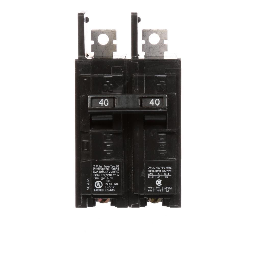 40 Amp 2-Pole Type BQ 10 kA Lug-In/Lug-Out Circuit Breaker