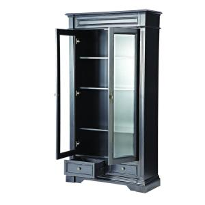 Internet #207077401. Home Decorators Collection Bufford Rubbed Black Glass  Door Bookcase