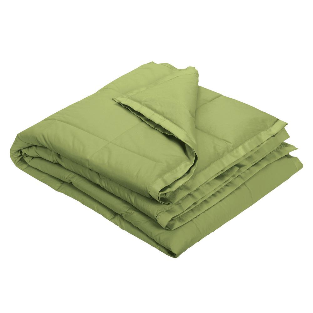 LaCrosse Down Fern Green Cotton Throw Blanket