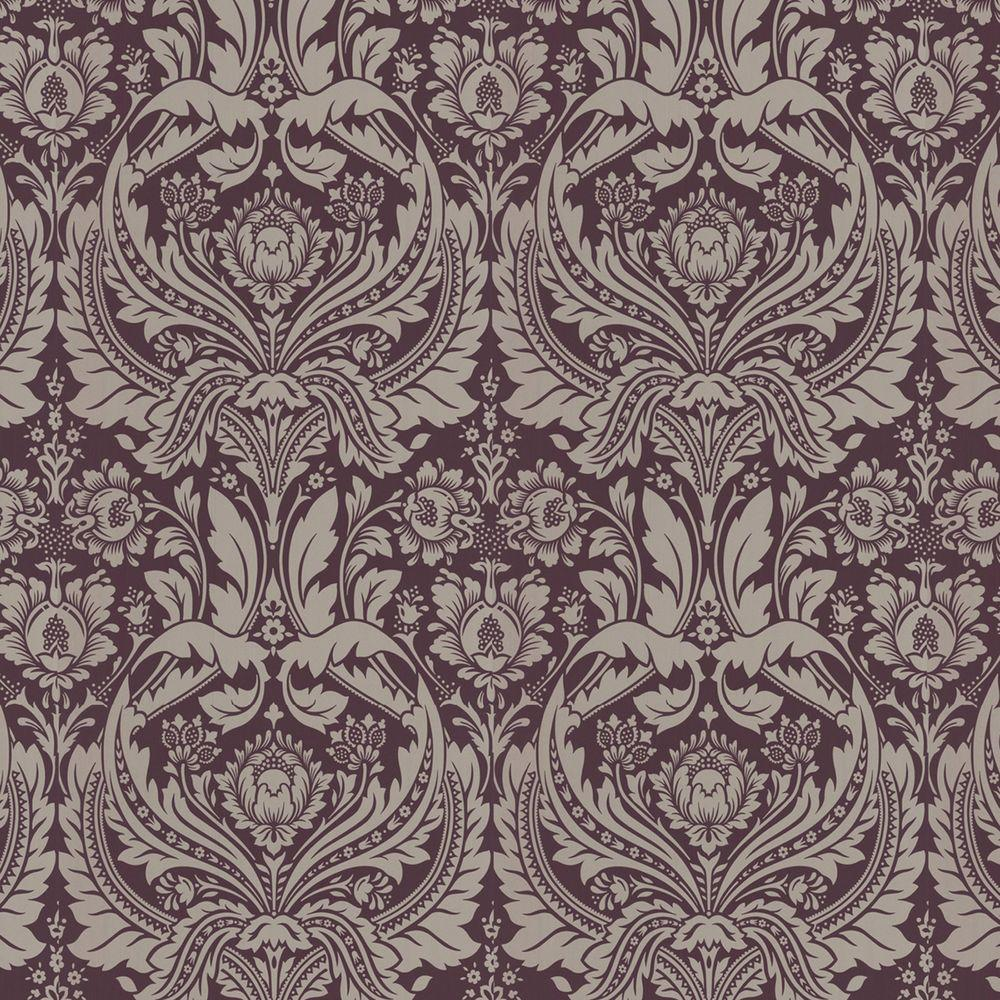 Graham brown desire purple wallpaper 50 185 the home depot for Graham and brown bathroom wallpaper