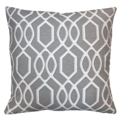 Frances Grey Geometric Down 7 in. x 20 in. Throw Pillow