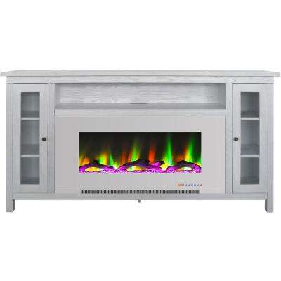 Somerset 70 in. White Electric Fireplace TV Stand in Multi-Color with LED Flame Driftwood Log Display and Remote Control