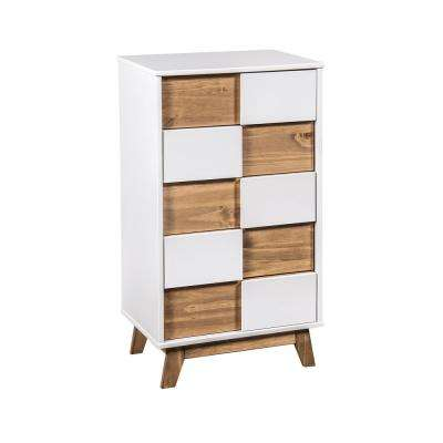 Livonia 36.22 in. High 5-Drawer White and Natural Wood Dresser
