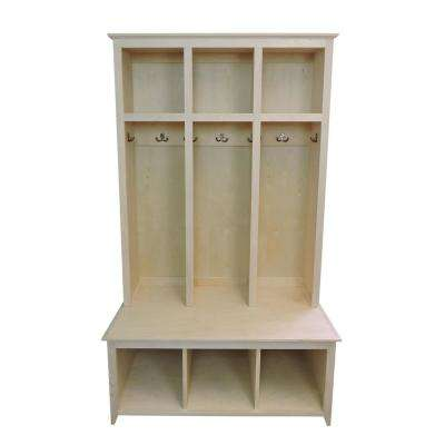 3-Section Sit and Store Unfinished Shaker Style Hall Tree