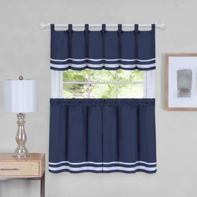Dakota 58 in. W x 24 in. L Polyester Tier and Valance Curtain Set in Navy
