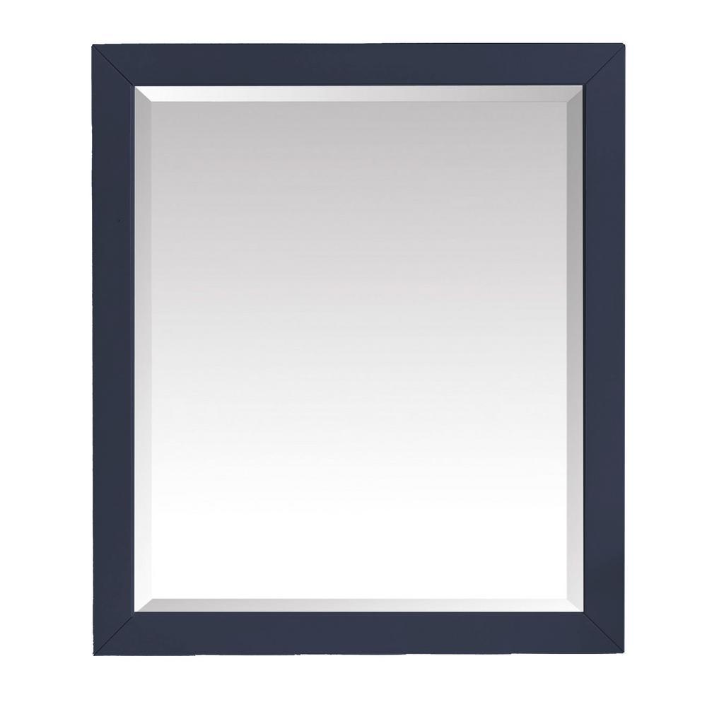 28.00 in. W x 32.00 in. H Framed Rectangular Beveled Edge Bathroom Vanity Mirror in Navy Blue