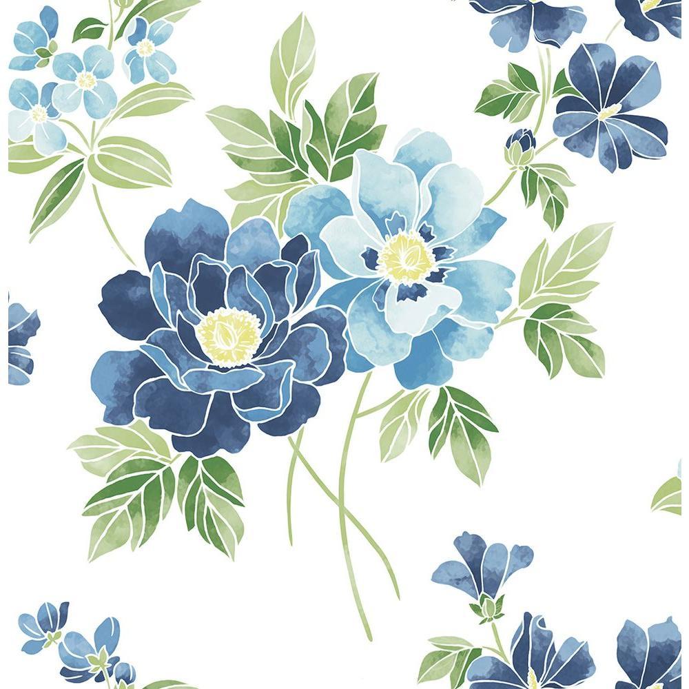 A-Street Elsie Sky Blue Floral Wallpaper-2657-22215