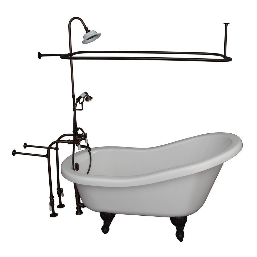 Barclay Products 5 ft. Acrylic Ball and Claw Feet Slipper Tub in ...