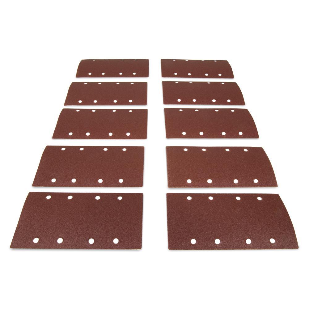Electric 1/3 Sheet Sander 100-Grit Hook and Loop Sandpaper (10-Pack)