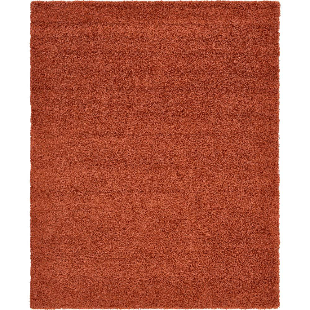 Unique Loom Solid Shag Terracotta 8 ft. x 10 ft. Area Rug