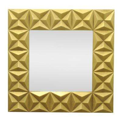 33.5 in. Wood Mirror in Gold