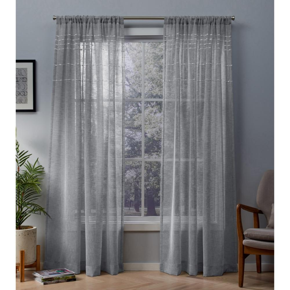 Davos 54 In W X 96 L Sheer Rod Pocket Top Curtain Panel Dove Gray 2 Panels