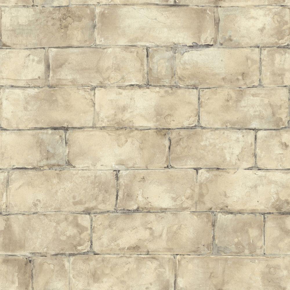 The Wallpaper Company 56 sq. ft. Beige Brick Wallpaper