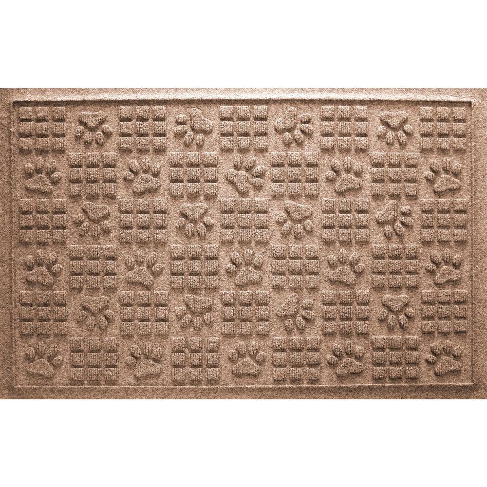 Medium Brown 24 in. x 36 in. Dog Paw Squares Pet Mat