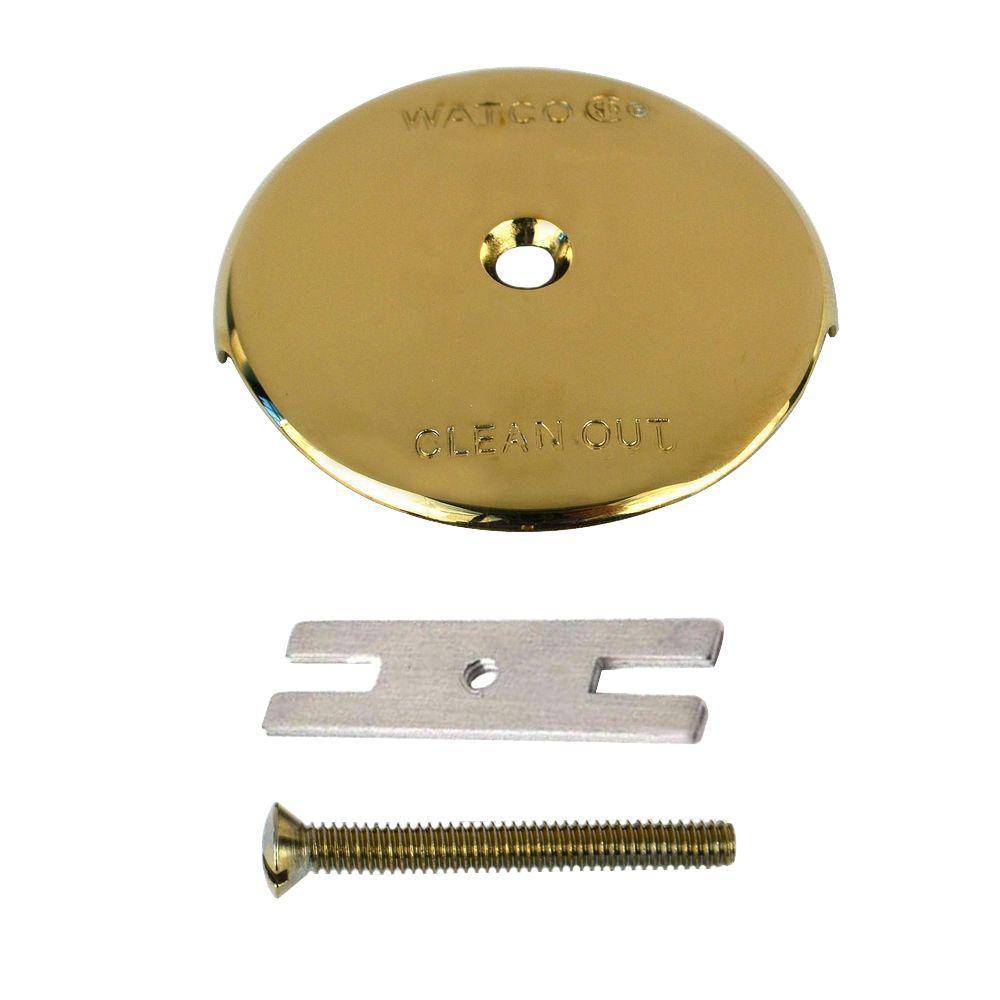 1-Hole Bathtub Overflow Plate Kit, Polished Brass
