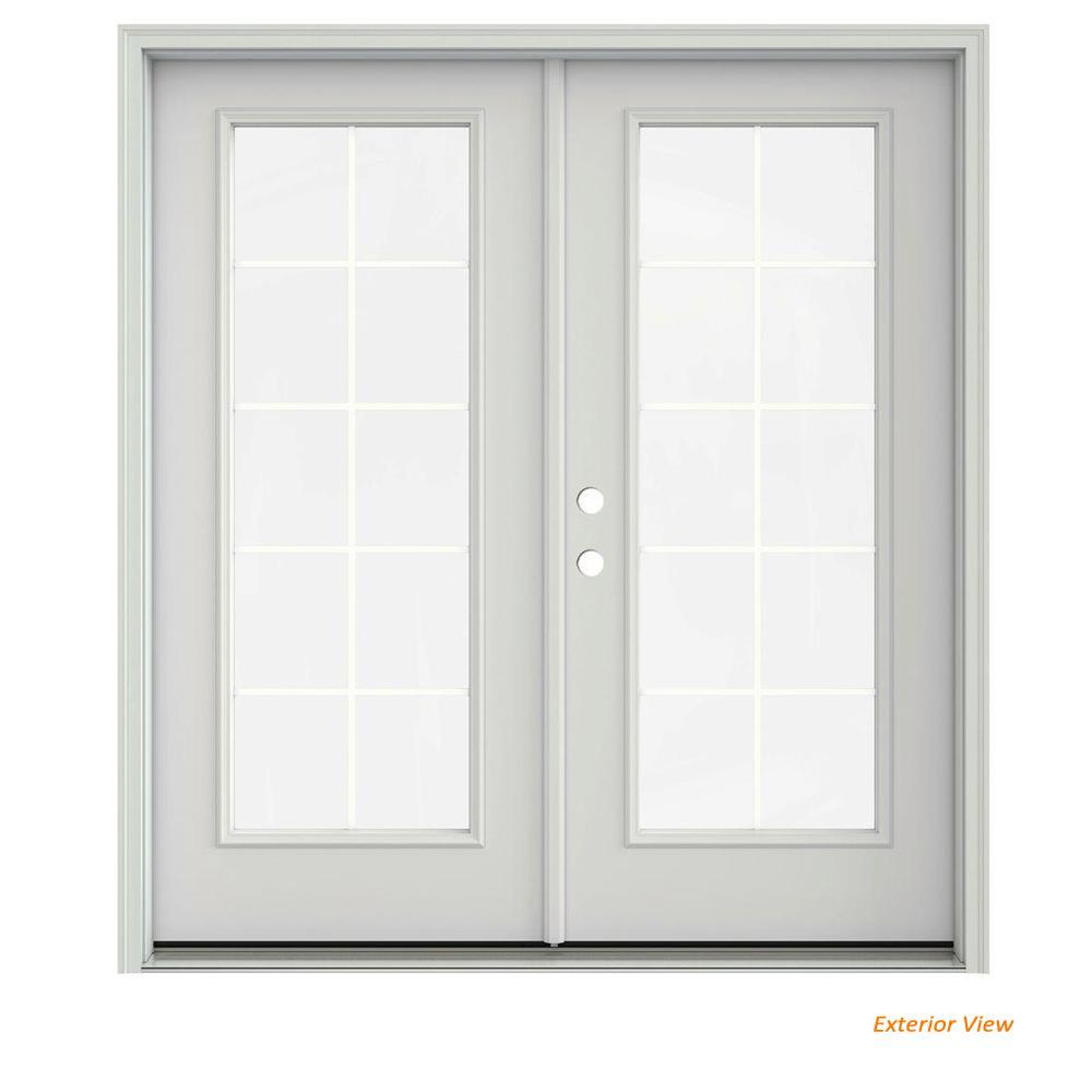 72 in. x 80 in. Primed Steel Right-Hand Inswing 10 Lite Glass Stationary/Active Patio Door