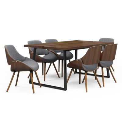 Malden 7-Piece Dining Set with 6-Upholstered Bentwood Dining Chairs in Grey & Natural Woven Fabric & 66 in. Wide Table